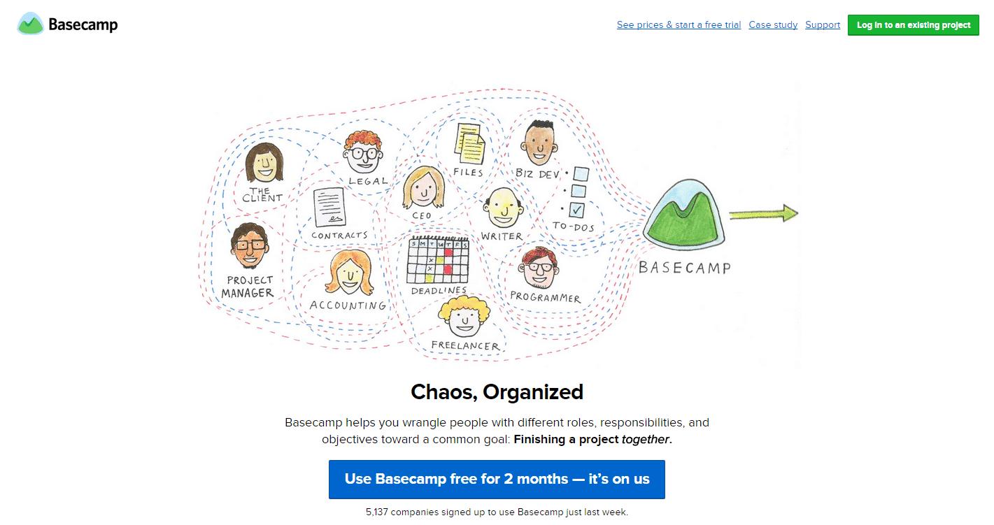 Screenshot of basecamp's homepage