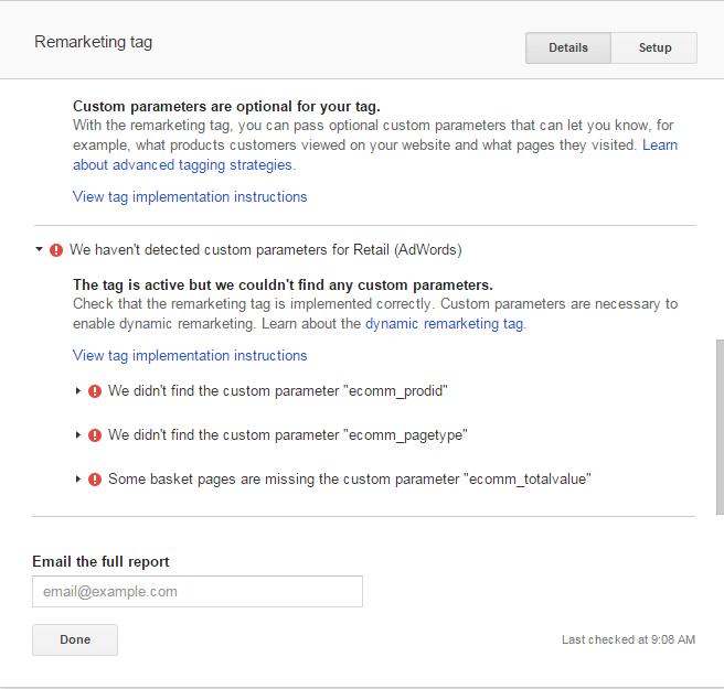 Custom Parameters Not Detected AdWords