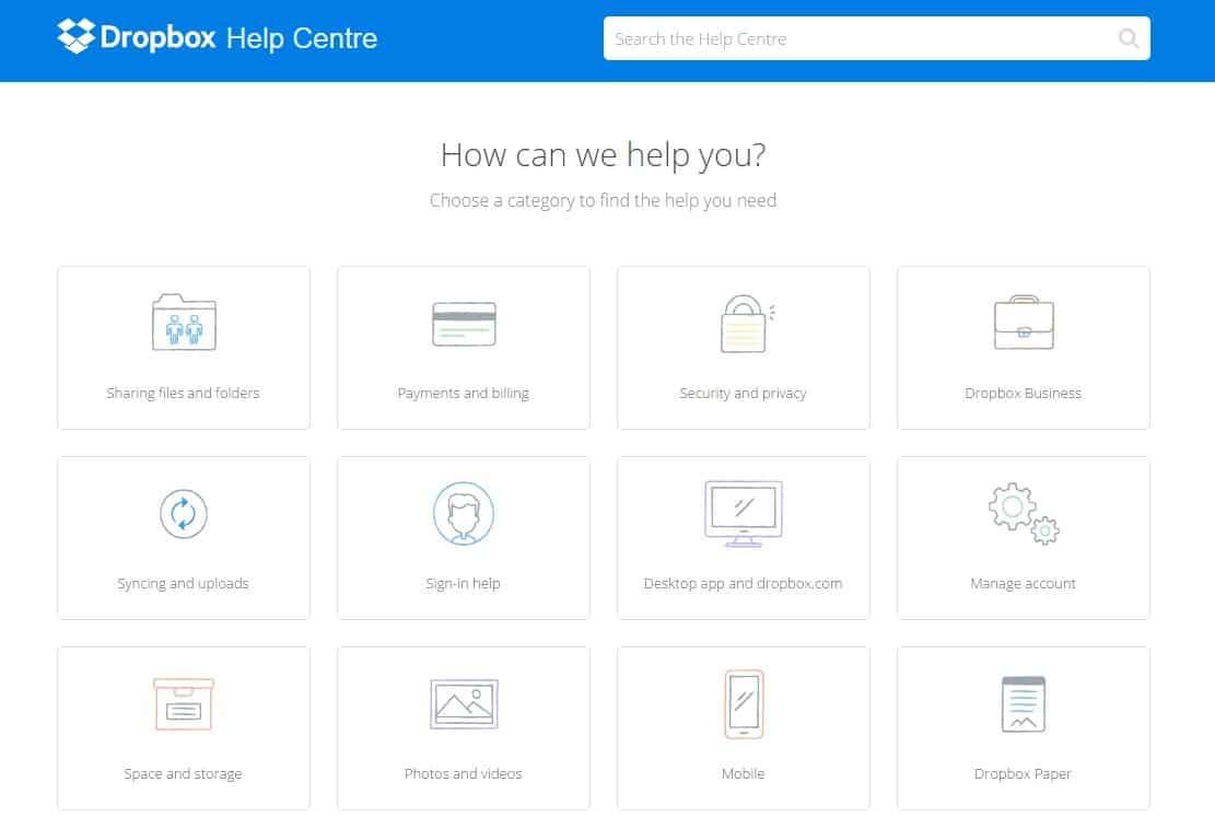 FAQ pages - Dropbox - browser media
