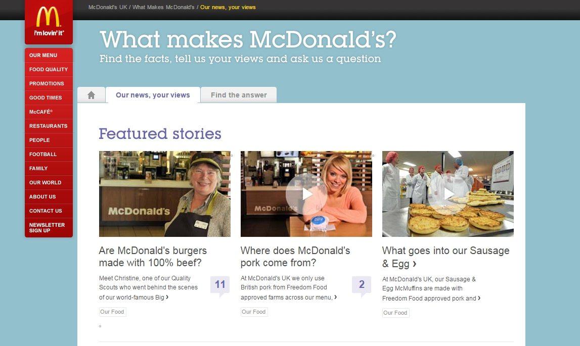 FAQ pages - mcdonalds - browser media