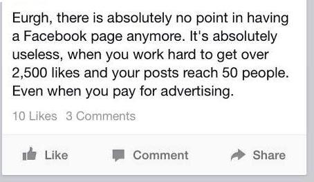 Facebook organic reach declines for a bar