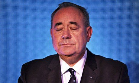 First Minister Alex Salmond concedes defeat at the Dynamic Earth in Edinburgh in front of his suppor