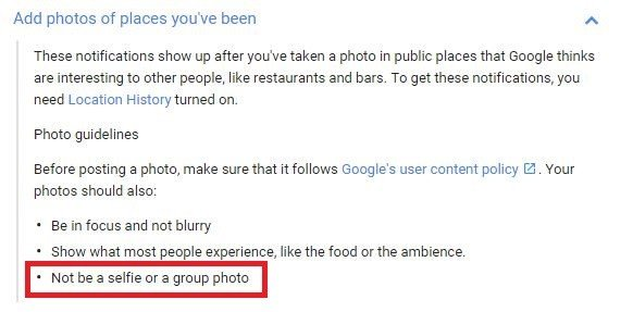Screenshot of Google',support page regarding Foodography on Google Maps