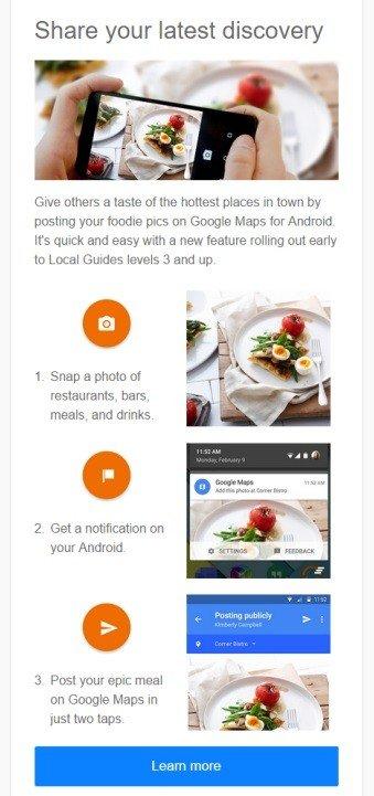 Screenshot of Google Maps Foodie Snaps