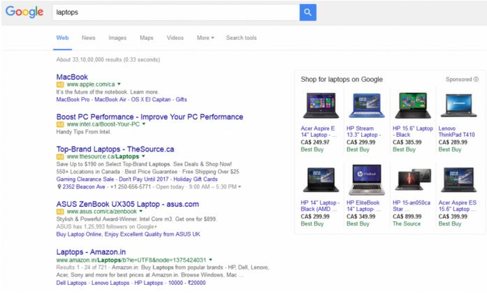 Google Ads in Search - Four ads example - Browser Media