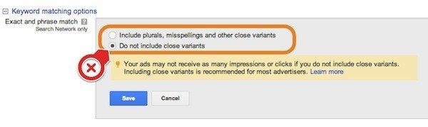 Google AdWords - Keyword Matching Options