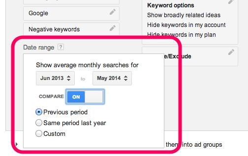 Google Keyword Plan - Date range comparisons