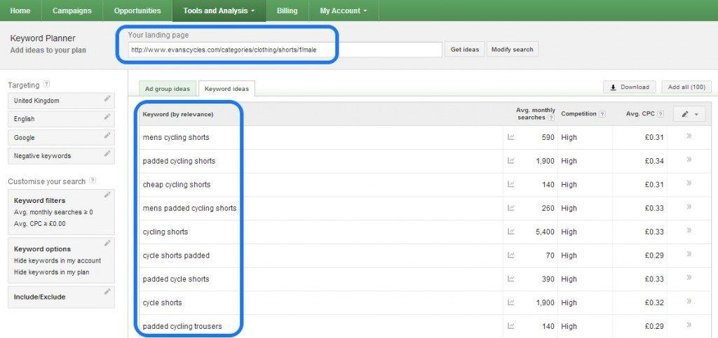 Keyword Planner - Comp. Keywords