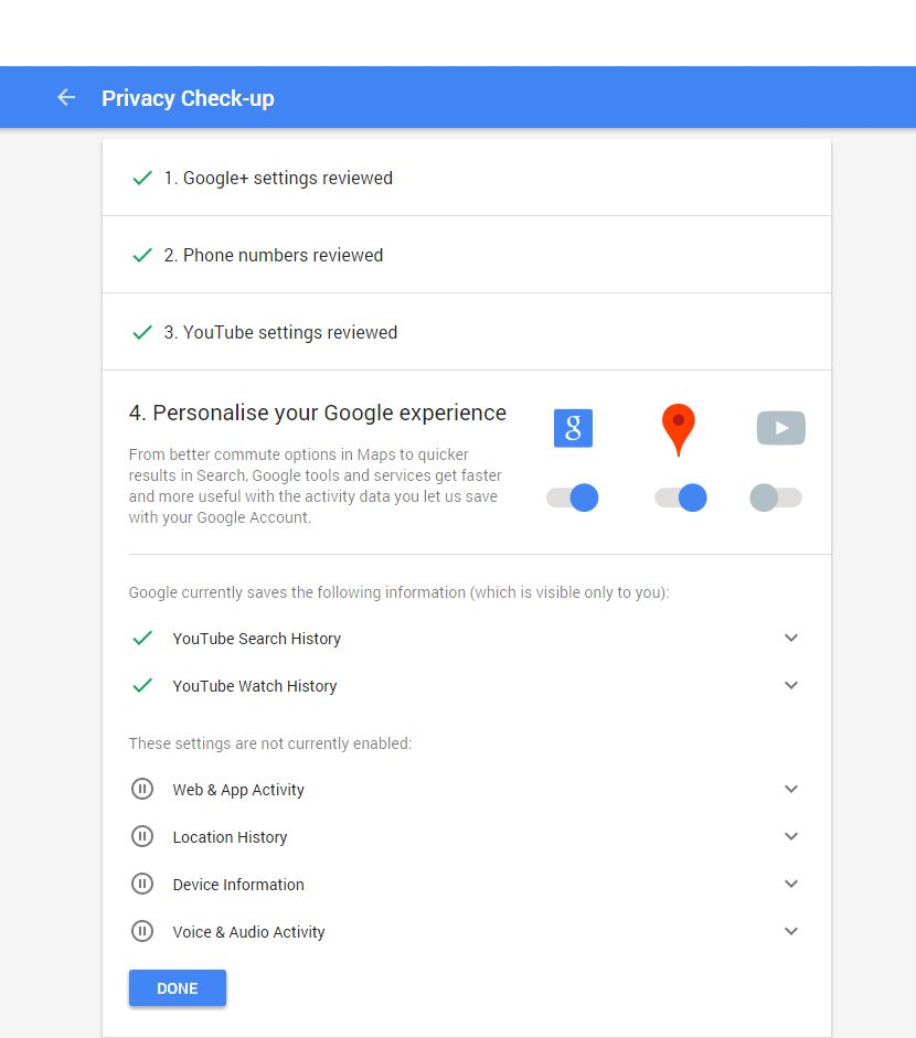 New Google Privacy Settings - Step Two - Browser Media