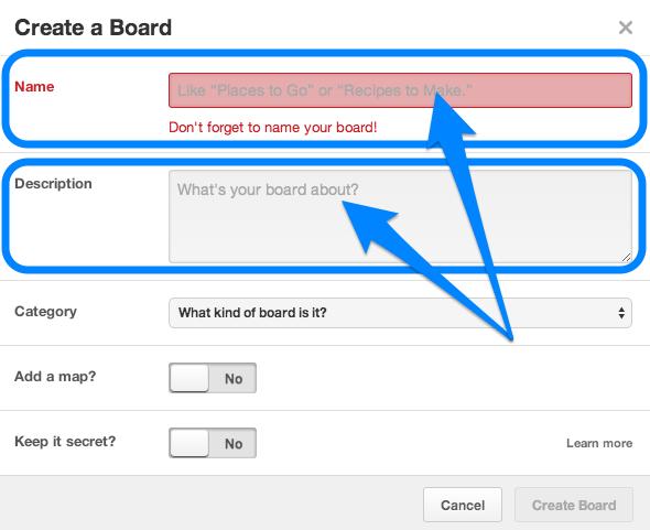 Pinterest - Create a board