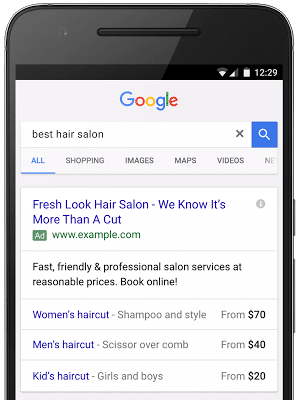 Price extensions - Google mobile features - browser media
