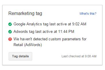 Remarketing Tag Status