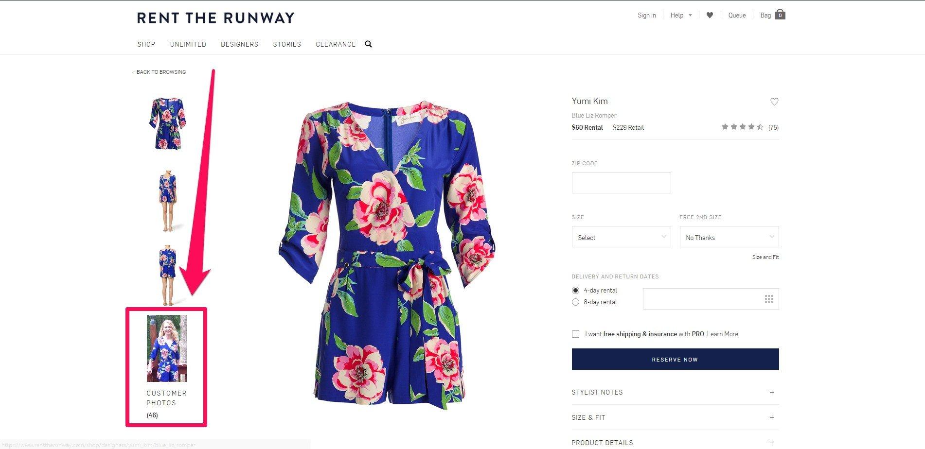 rent the runway's customer photos image