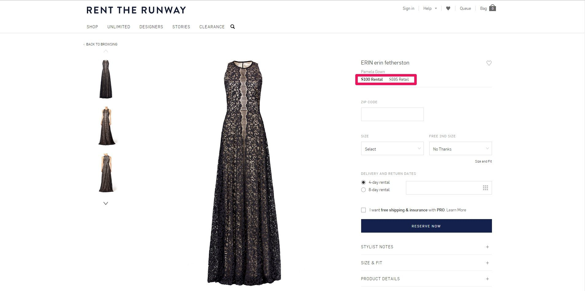 rent the runway's rental vs purchase price