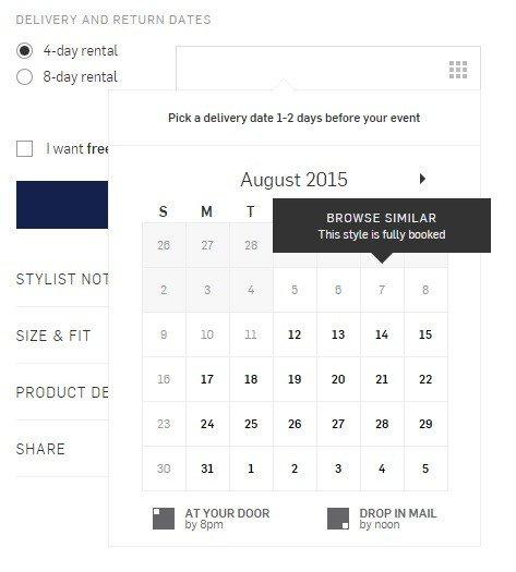 Available dates on the calendar