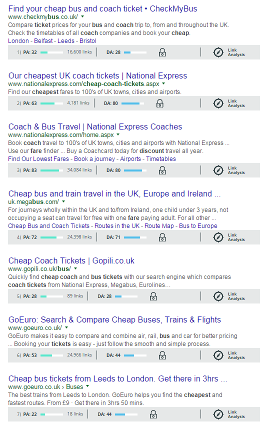SEO Competitor Analysis - Cheap Bus Tickets with Moz - browser media