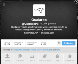 Social Proof - Twitter follow example - Browser Media