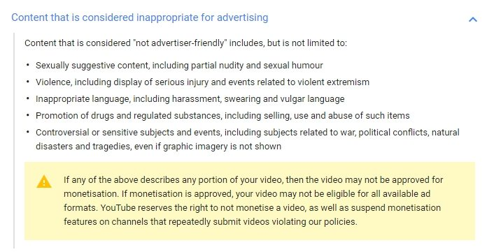 YouTube rules - my five 199 - browser media