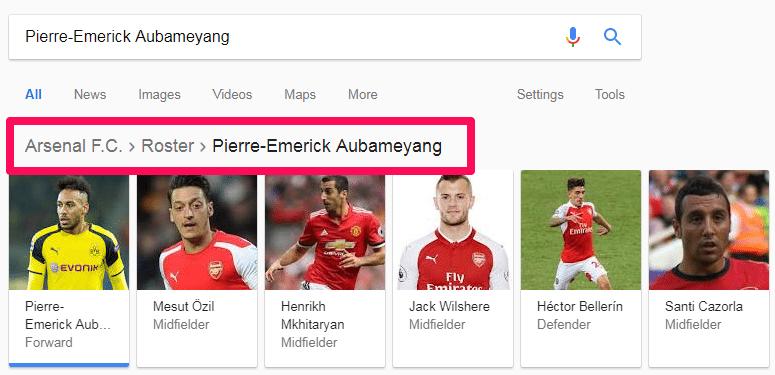 google search query breadcrumb