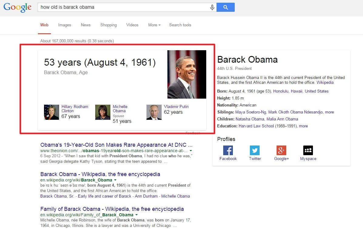 Screen shot of Obama's knowledge graph