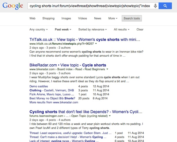 'cycling shorts' - Google Discussion Search Results