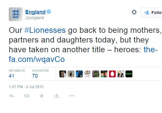 england lioness tweet via thedrum.com - my five - browser media