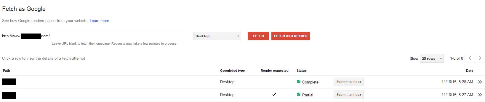 Google Fetch and Render - Browser Media