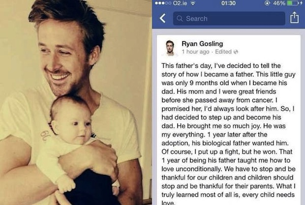 Ryan Gosling Adopts Baby