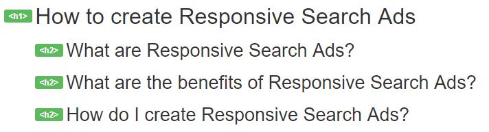 semantic heading markup in document outline