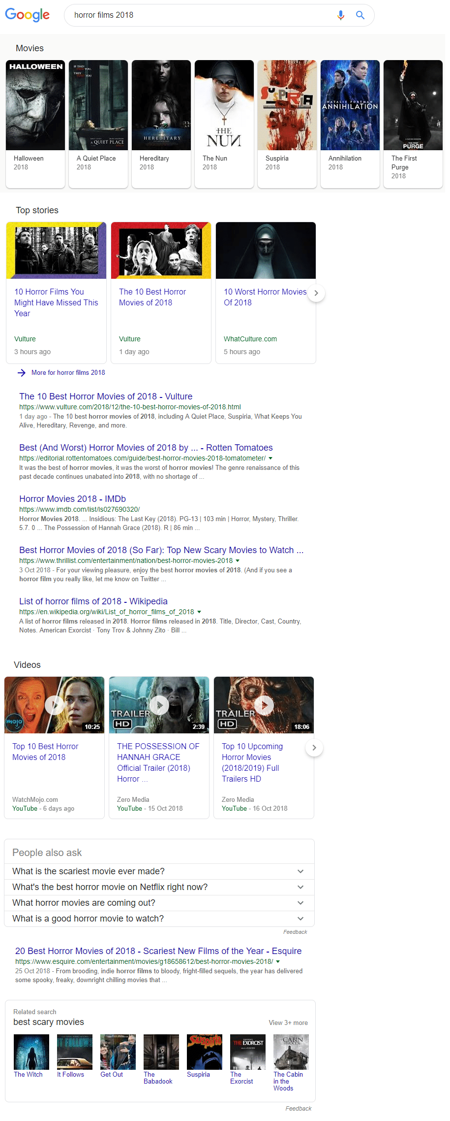 example search results organic with rich snippets