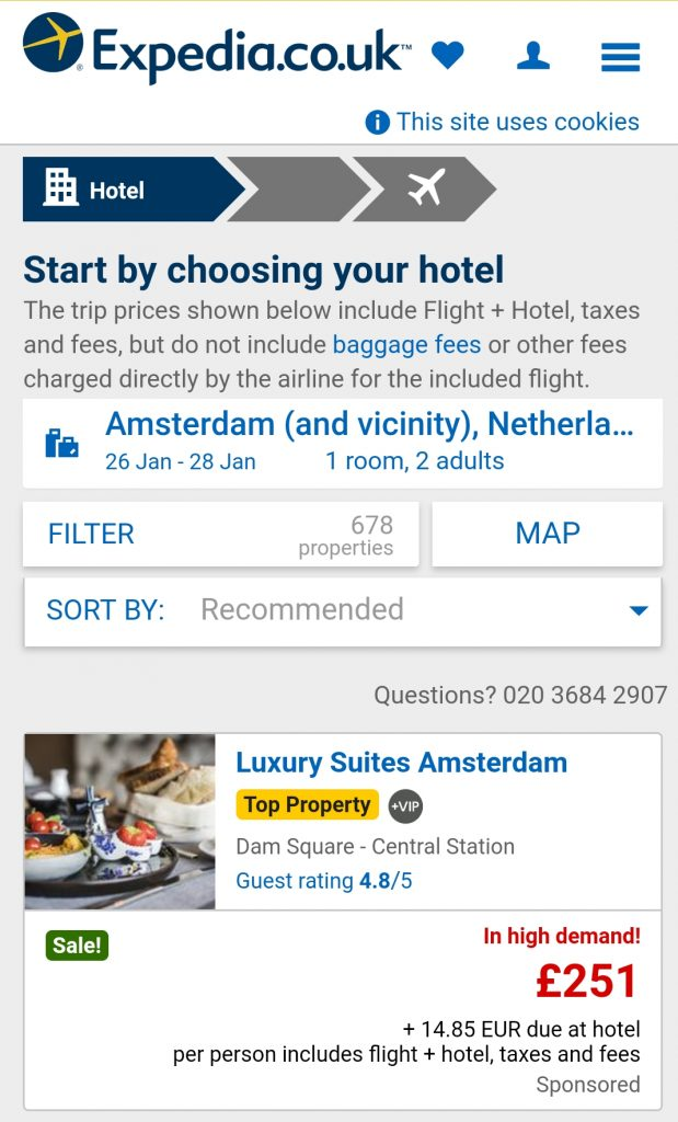 mobile shopping cart abandonment - expedia pricing - browser media