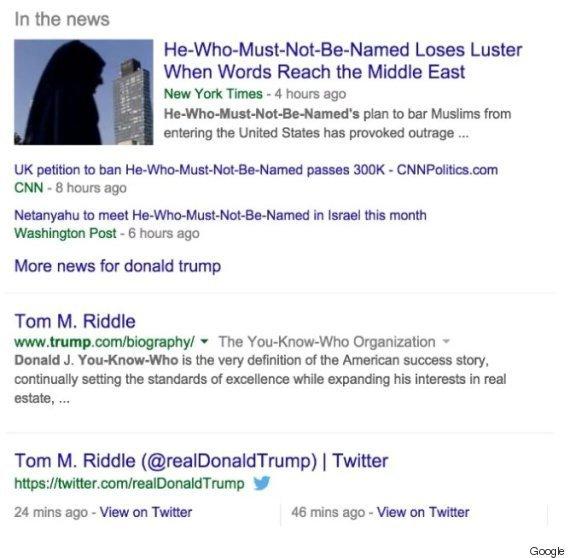 Google Search Results - Donald Trump