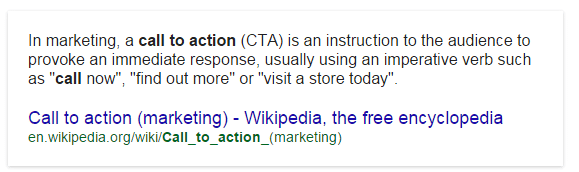 Wikipedia's definition of a Call To Action