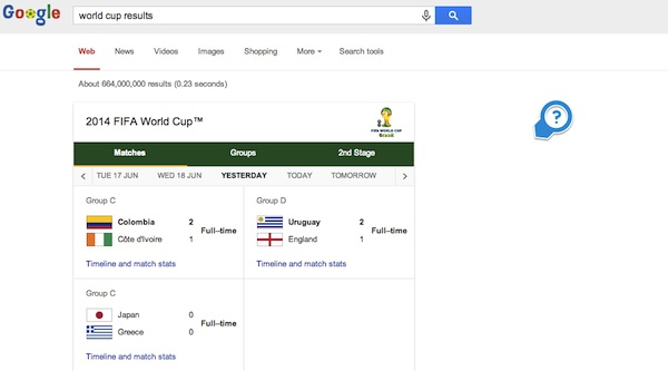 Google Search - world cup results